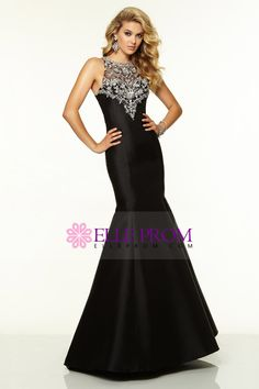 2015 Scoop Beaded Satin&Tulle Prom Dress Mermaid/Trumpet Black