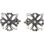Vintage Taxco Mexican Sterling Silver Floral Lace Earrings