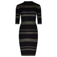 Black & Khaki Stripe Pattern Ribbed Bodycon Dress
