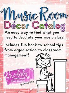 Music Room Decor Catalog  Looking for music decor and having a hard time finding what you want? This catalog of my music room decor sets makes it easier for you to find exactly what you need for your classroom without having to navigate through my entire store. I've also included some real life pictures of some of these sets to give you a better idea of how it might look in your room. Word walls, music bulletin board sets, solfege hand sign posters, dynamics posters, tempo posters, and more!