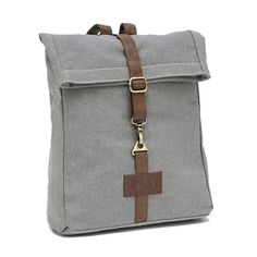 """Waxed Ash Backpack 12"""" x 20"""" x 4"""" All our backpacks are made from recycled canvas, with PU leather trim and printed with eco-friendly pigment inks."""