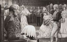 Debutantes being present to Edward VII and Queen Alexandra