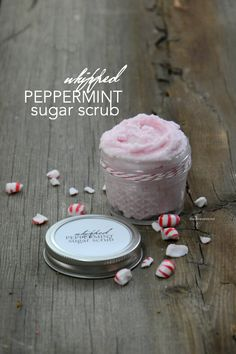 Whipped Peppermint Sugar Scrub Recipe with Free printable labels. This makes a great gift idea too. So easy to make with this simple video tutorial. #sugarscrub #peppermintsugarscrub #peppermint #christmas #christmasgift #giftideas