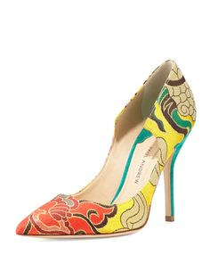 Manhattan Chinoiserie Jacquard Pump, Yellow/Emerald