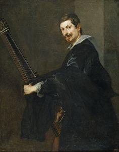 """Anton Van Dyck, """"Man with a lute""""  (chitarrone), 1622-1632, Museo Nacional del Prado"""