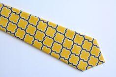 Men's neck Tie-Yellow and gray lattice by ClipABowTie on Etsy