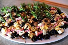 Rosemary skewers with salami, olives, artichoke, mozzarella