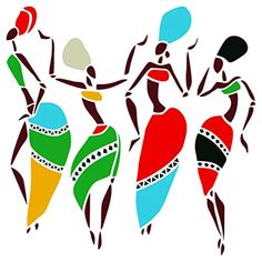 African Dancers Stencil - 10 x 10 inch (L) - Reusable Women Lady Dancers Ethnic Tribal Wall Stencils for Painting - Use on Poster Scrapbook Journal Walls Floors Fabric Furniture Glass Wood etc. Worli Painting, Stencil Painting On Walls, Stencil Art, Fabric Painting, Stencils, Arte Tribal, Tribal Art, African Art Paintings, Abstract Paintings