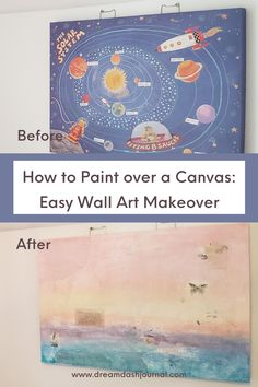 DIY mixed media wall art makeover! Easy steps to paint over a canvas painting or any old wall art and transform it into a unique mixed media painting. #mixedmedia #wallartmakeover #artideas #diywallart Simple Wall Art, Diy Wall Art, Arts And Crafts For Adults, Old Stamps, Birthday Cards For Her, Large Canvas Art, Media Wall, Top Blogs, Arts And Crafts Projects