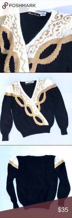"""Vintage Black Gold Embellished Sweater Vintage Black Gold and Cream link patterned bead Embellished Sweater. Acrylic, nylon, and """"other"""" fibers. Size Medium. Puff sleeves. Approximate Measurements (flat):  20"""" armpit to armpit, 13.5"""" across waist, 23"""" long, 24"""" sleeve  🎀Search my closet for your size 🎀BUNDLE and SAVE! 🎀REASONABLE offers WELCOME 🎀NO TRADES NO HOLDS 🎀Thank you for stopping by!❤️ Vintage Sweaters V-Necks"""