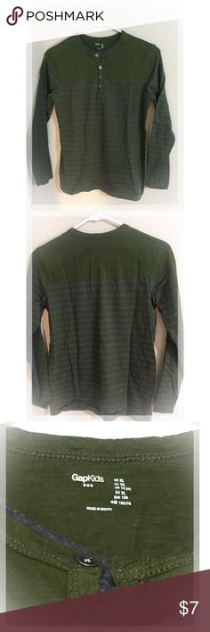 Boy's GAP Green w/Gray Stripes long sleeve shirt Excellent condition! GAP Shirts & Tops Tees - Long Sleeve