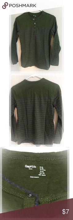 Boy's GAP Green w/Gray Stripes long sleeve shirt Excellent condition! GAP Shirts & Tops Tees - Long Sleeve