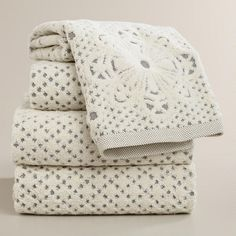 One of my favorite discoveries at WorldMarket.com: Lattice Sculpted Bath Towel Collection