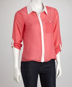 Take a look at this Coral & Ivory Button-Up by Grass on #zulily today!