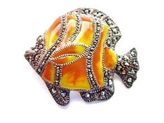 Figural Enamel and Marcasite Sterling Silver Fish Brooch