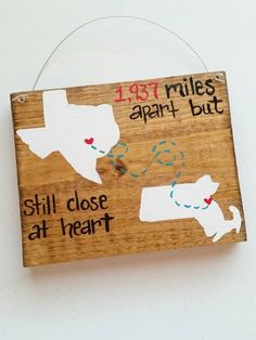 Best Friends Long Distance Family Wood Sign 5x7 State Gift Home Decor Couples Military Custom Made Design by GretasHandmadeGifts on Etsy https://www.etsy.com/listing/245257253/best-friends-long-distance-family-wood