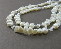 Bridal Necklace Multi strand pearl necklace by JulieEllisDesigns, $75.00