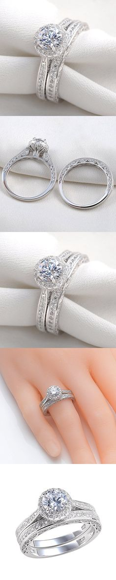 Newshe Jewellery Alice 2.4 Carat Round White CZ Solid 925 Sterling Silver Wedding Band Engagement Ring Set Size 7