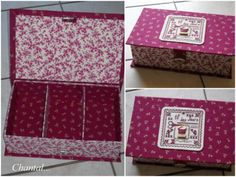 beaucoup de tutos ici Cardboard Crafts, Paper Crafts, Fabric Boxes, Cigar Boxes, Diy Box, Mini Albums, Diy And Crafts, Decorative Boxes, Scrapbooking Box
