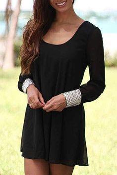 Black Long Sleeve Chiffon Dress