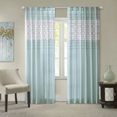 Girls Aqua Embroidered Window Curtain 84 Inch Single Panel Light Blue Color Geometric Pattern Pieced Pintucked Design Window Treatment Luxury Stunning