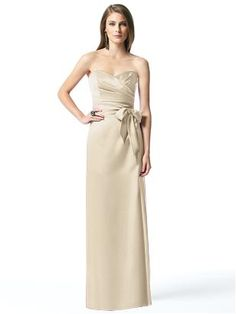 dessy champagne bridesmaids dress. Love the sash too but would do a brownish for fall!