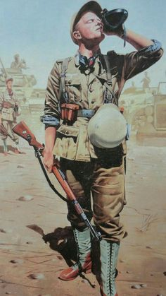 The soldier from Afrika Korps drink the water, 1942, pin by Paolo Marzioli