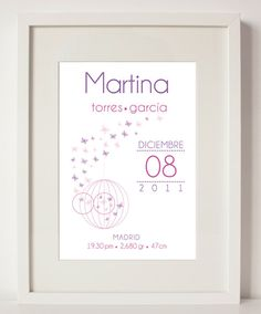 Lamina de nacimiento niña mariposas ilustración por MagicLines, €3.90