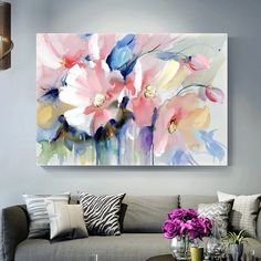 """Universe of goods - Buy """"Abstract Watercolor Flower Oil Painting Print On Canvas Modern Wall Art Flower Picture For Living Room Wall Poster Cuadros Decor"""" for only USD. Oil Painting Flowers, Abstract Flowers, Watercolor Flowers, Painting Prints, Flower Painting Abstract, Poster Color Painting, Big Canvas Art, Flower Painting Canvas, Paint Flowers"""