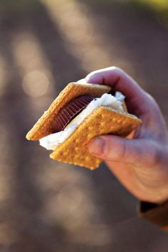 Twist on classic s'more: Swap the chocolate bar for a Reese's Peanut Butter Cup.
