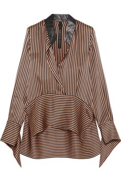 Petar Petrov - Leather-trimmed Asymmetric Striped Silk-satin Blouse - Bronze