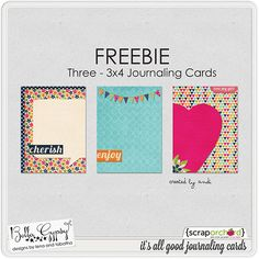 Three *FREE* 3x4 Journaling Cards that coordinates with the It's All Good Scrapbooking kit by Bella Gypsy Designs at Scrap Orchard.