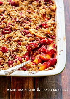 Warm Raspberry Peach Cobbler Recipe with Crunchy Pecan Topping http://www.thewickednoodle.com/raspberry-peach-cobbler-recipe/?utm_campaign=coschedule&utm_source=pinterest&utm_medium=the%20wicked%20noodle%20(dishes%20from%20favorite%20food%20bloggers)&utm_content=Warm%20Raspberry%20Peach%20Cobbler%20Recipe%20with%20Crunchy%20Pecan%20Topping