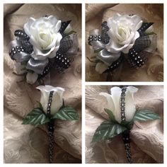 It's Prom time! Ivory, black with silver accents wrist corsage and boutonnière by HYR Designs Little Black Dress Classy, Classy Dress, Homecoming Corsage, Prom Dance, Corsage And Boutonniere, Prom Photos, Wrist Corsage, Corsages, Senior Pics