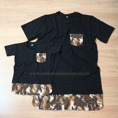 Camisetas Tal Pai Tal Filho Longline Barra Estendida Double Layer Com Bolso Detalhes Com Estampa Camuflada