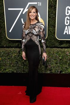 Laurie Metcalf & Allison Janney Attend the Golden Globes Photo Laurie Metcalf and Allison Janney walk the red carpet at the 2018 Golden Globe Awards held at the Beverly Hilton Hotel on Sunday (January in Beverly Hills, Calif. Over 60 Fashion, Over 50 Womens Fashion, Award Show Dresses, Allison Janney, Wearing All Black, Event Dresses, Red Carpet Looks, Red Carpet Dresses, Golden Globes