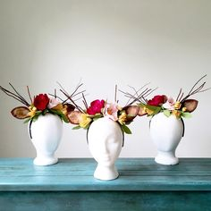 Paper Floral Antler Headbands by A Handcrafted Affair