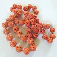 Finest Antique Chinese Qing Carved Coral 52 Bead Necklace | eBay