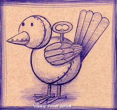 Day 11 Inktober 2014. www.vicpratt.wix.com/vickypratt Find me on Facebook Vicky Pratt - Illustrator. Mechanical bird, biro on Strathmore Toned Tan paper.