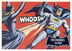 Topps Batman card: The Enemies Clash (Catwoman) Batman 1966, Batman And Catwoman, Batman Comics, Batman And Superman, Batman Robin, Dc Comics, Batman Cartoon, Batman Stuff, Comic Book Covers