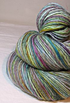 Handspun Yarn Gently Thick and Thin Single  Blue by SheepingBeauty, $36.00