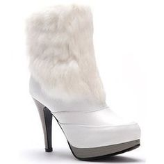 Image detail for -Womens white fur PU leather warm boots high heels shoes