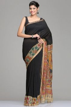 Black Chanderi Saree With Kalamkari Floral Vine & Gold Zari Border And Peacock Motif Pallu