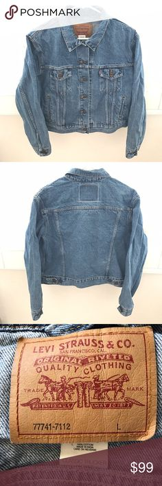 """LEVI's jean / denim classic trucker jacket Classic trucker jacket in a timeless vintage style cotton. Model is wearing similar jacket in different shade of denim blue.  🍃🍂Pit to pit 25"""" 🍃🍂Sleeve 23"""" 🍃🍂Shoulder 16.5"""" 🍃🍂Length 21.5"""" Levi's Jackets & Coats Jean Jackets"""