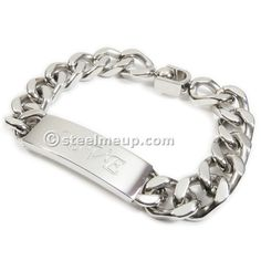 Stainless Steel Love Curb Chain Men ID Bracelet 11mm 8""