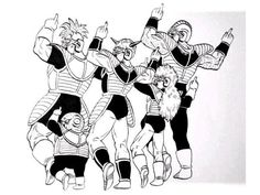 The members of the Ginyu Force posing like one of Akira Toriyama's other creations, Jaco the Galactic Patrolman