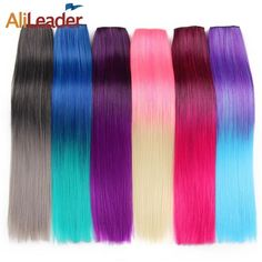 c87d7aab477 Alileader 56Cm 5 Clip In Hair Extension Heat Resistant Fake Hairpieces Long  22 Inch Straight