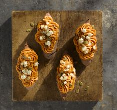 Twice Baked Maple Chipotle Sweet Potatoes with Goat Cheese & Pumpkin ...