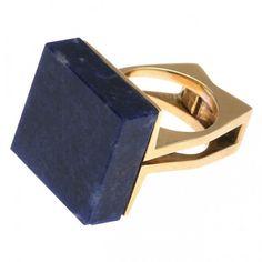 Cartier 18kt Gold & Lapis Modernist Ring