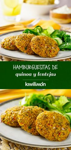 Hamburguesas de Quinoa y Lentejas Get your family to eat more and eat a more diet with this Dairy Free Recipes, Veggie Recipes, Real Food Recipes, Vegetarian Recipes, Healthy Recipes, Lentil Burgers, Food Porn, Vegan Dinners, Going Vegan